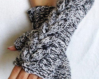 Fingerless Gloves Black an White Tweed Cabled  Wrist Warmers Fall Fashion