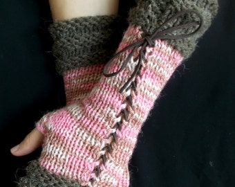 Knit Fingerless Gloves Women Corset Arm Warmers in  Pink Brown Tones