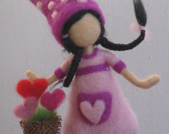 "The garderner of love, Happy Valentine's Day, needle felted way to say: ""I love you"", Waldorf inspired"