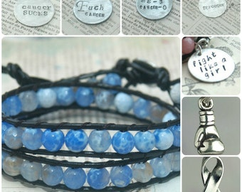 Leather Wrap Beaded Bracelet - Blue Faceted Beads - Prostate Cancer Awareness- By Inspired Jewelry Designs