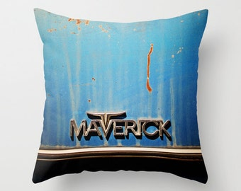 Vintage Car Pillow Cover - Maverick - home decor, photo pillow, throw pillow, blue, rust, black, solid