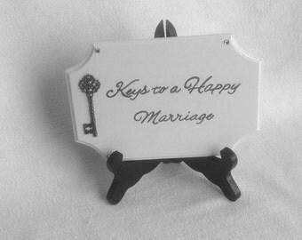Key to a Happy Marriage Signage - White Signage