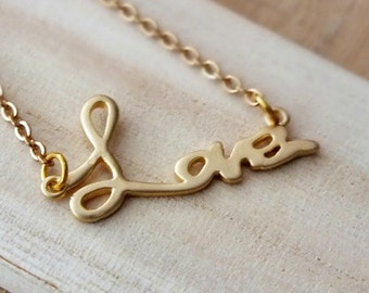 Gold Love Monogram Necklace - Also Available in Silver, Love Letter Charm Pendant, Dainty Love Pendant Charm Suspended, Love Script Necklace