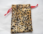 """50 Soft Satin leopard Print Drawstring Pouch 4"""" x 5"""" with Red Ribbon for Jewelery soap herbs buttons favor bag"""