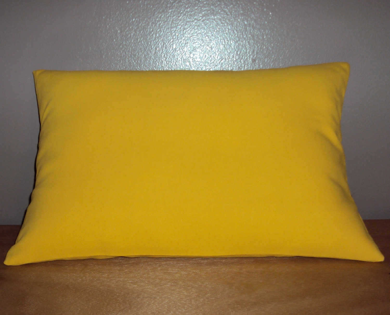 Solid Yellow Cotton Decorative Lumbar Pillow Cover 3 Sizes