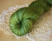 Hand Dyed Yarn / DK Weight / Olive Gold Turquoise Moss Superwash Merino Wool / Mediterraneo