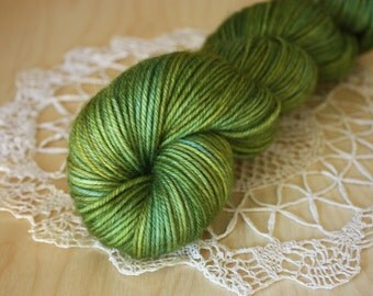 Hand Dyed Yarn / DK Weight / Olive Gold Turquoise Moss Superwash Merino Wool / Mediterraneo