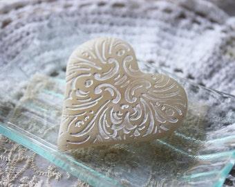Heart Brooch Shawl Scarf Pin / Creamy White Ivory / Handmade Jewelry Jewellery
