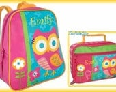 Child's Backpack Owl Teal GOGO Backpack and Lunchbox SET OF 2 -Embroidered- Backpack and Lunchbox