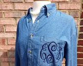 Monogrammed Button Down  Shirt - Denim Monogrammed Shirt - Perfect with Boots