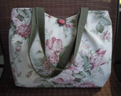 Pleated Tote - Pink, Green and Cream Floral Rose Print Pleated Tote Bag - Decorator Weight Fabric
