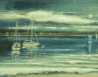 Original Painting Nautical Art Harbor Scene Sailing Sailboats Beach House Art Canvas Painting Wall Art Nautical Decor Signed Original Island
