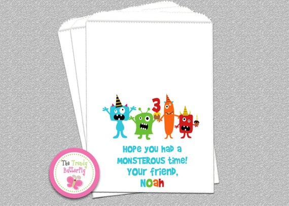 Monster Birthday Favor Bags  Monster Goody Bags  Birthday Party Favor Bags