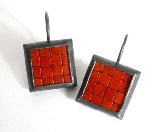Mosaic Earrings - Red Jasper Oxidized Silver - Ready To Ship