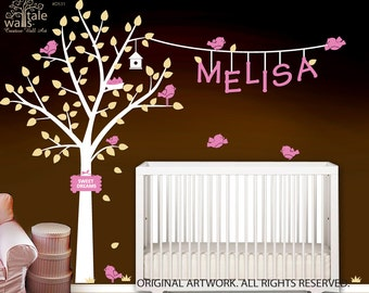 Nursery Wall Decal with custom name and birds. Large tree baby wall decal with name.d531
