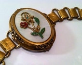ANTIQUE Museum Quality Floral Rhinestones Enameled Medallion Mother of Pearl Bookchain Link Panel Bracelet Vintage Jewelry