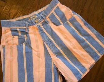 High Waisted Denim Shorts / Vintage Striped Shorts / Orange Green Daisy Dukes / Size 6