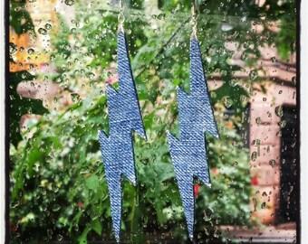 Denim Earrings- Bolt Jean Earrings