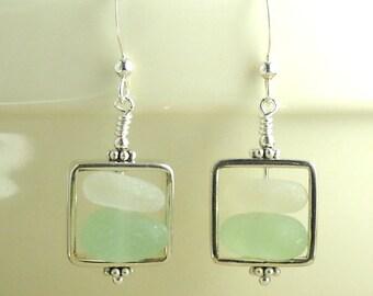 GENUINE Aqua And White Sea Glass Earrings Silver Squares
