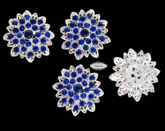5pcs RD257 Sapphire Blue Rhinestone Metal Flatback Embellishment Button DIY wedding bridal crystal bouquet flowers hair