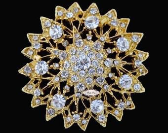 Gold Rhinestone Brooch Embellishment - Flatback - Brooch Bouquet - Supply - Broach - RD228