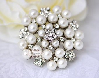 Rhinestone Pearl Brooch Embellishment - Flatback - Rhinestone Broach - Brooch Bouquet - Supply - Wedding Jewelry Supply - RD73