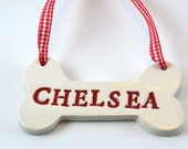 personalized dog bone ornament, choose your color, Custom made to order, Christmas tree ornament, ceramic