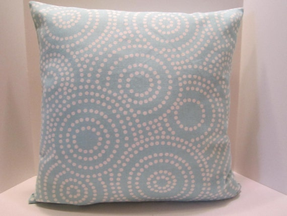 Pillow Cover Aqua Aquamarine with White Circles Pattern  - 18 Inch