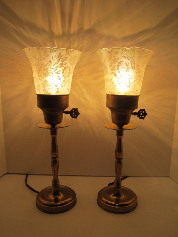 Vanity Dresser Lamp : Brass Boudoir Dresser Vanity Lamps Pair Etched by VKVDesigns