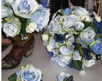 NEW Denim & Lace Country Bouquet Set, Blue Silk Rose Bridal Bouquet Set 13 pce.