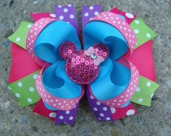 Minnie Mouse Hair Bow Large Hair bow Boutique hair bow Turquoise and Pink hair bow