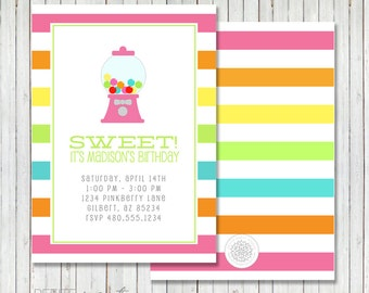 PARTY PRINTABLE - Gumball Bubblegum Party Birthday Party Invitation - Petite Party Studio