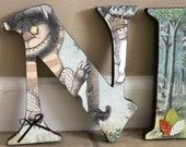 """Where the Wild Things Are theme- Custom Designed 7.5"""" wood letters nursery decor baby toddler child boys girls custom signs"""