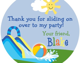 Waterslide party sticker --  pool party -- water slide party -- waterslide party favor tag
