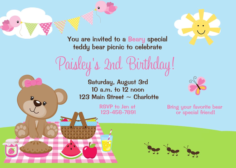 Teddy Bear Picnic Birthday Party Invitation by ...