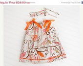 20% CLOSE OUT SALE Mandarin Orange Wren Pillowcase Dress