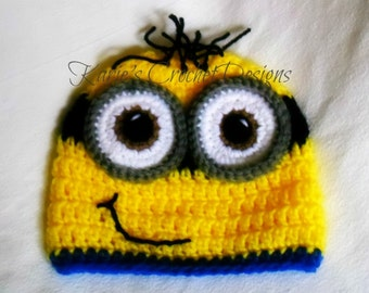 Two Eyed Minion / Handmade / Crochet /  Hat / Beanie / Photo Prop