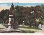 Chicago Postcard Lincoln Park Linne Monument - Old Statue Antique Postcard Lake - Vintage Postcard Chicago