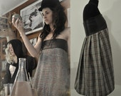 Strapless Plaid Tweed Dress with Leather Top - XS/S/M/L/XL