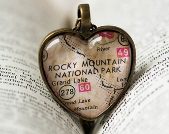 Map Jewelry Rocky Mountain National Park , Colorado Necklace , Map Necklace , Map Pendant , Vintage Map , State Jewelry , Colorado Vacation