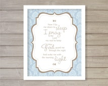 Bedtime Prayer Nursery Print -8x10- Baby Shower Gift Blue Children Room Decor Instant Download Digital Printable Poster Typography Wall Art