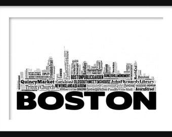 Boston Skyline 2 Typography Print Poster Map