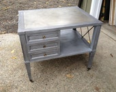 NOT FOR SALE - Beautiful Brushed Silver Metallic Mahogany Mid-Century Dresser/Night Stand/End Table / Gold Top Finish