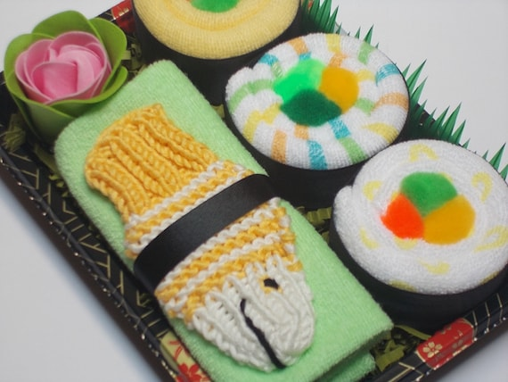 Baby Shower Gift - Baby Sushi with Yellow Fish Bath Scrubby