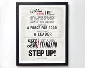STEP UP! Tony Robbins motivatinal poster - Typography art print on canvas