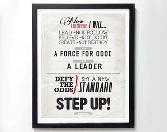STEP UP! Tony Robbins motivatinal poster - Typography art print on canvas, photo print