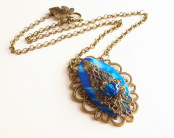 Filigree Stone Necklace / Wrapped Agate Gemstone / Cerulean Blue Stone Pendant / OOAK Handmade Jewelry