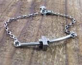 floating cross bracelet sterling silver hammered texture