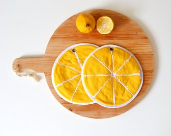 slice of lemon potholders - zesty lemon slice potholders - fruit kitchen potholders - lemon yellow food slice - fun lemon fruit potholders