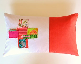 bright red lumbar pillow cover - red and pink accents - swiss cross appliqué - patchwork cross  - lumbar pillow - red cushion cover